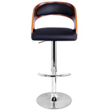 PU Leather Wooden Kitchen Bar Stool Padded Seat Black - OZZIEBARGAINS