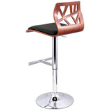 Set of 2 PU Leather Wooden Kitchen Bar Stool Padded Seat Black - OZZIEBARGAINS