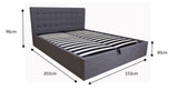 Queen Size Grey Fabric Gas Lift Bed