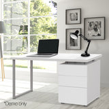 Office Study Computer Desk w/ 3 Drawer Cabinet White - OZZIEBARGAINS
