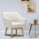 Fabric Tub Lounge Armchair - Beige - OZZIEBARGAINS