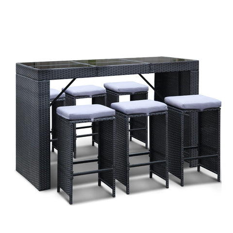 7-Piece Outdoor Bar Table and Stools Set - OZZIEBARGAINS