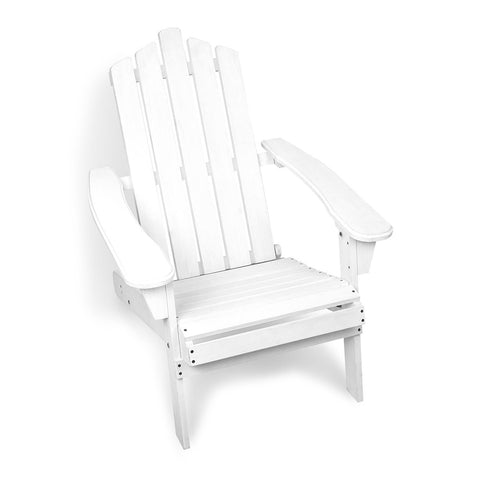 Adirondack Foldable Deck Chair - White - OZZIEBARGAINS