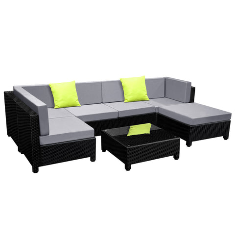 7 pcs Black Wicker Rattan 6 Seater Outdoor Lounge Set Grey - OZZIEBARGAINS