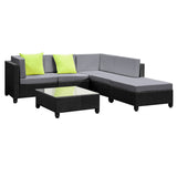6 pcs Black Wicker Rattan 5 Seater Outdoor Lounge Set Grey - OZZIEBARGAINS