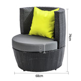 Stackable 4 pcs Black Wicker Rattan 2 Seater Outdoor Furniture Set Grey - OZZIEBARGAINS