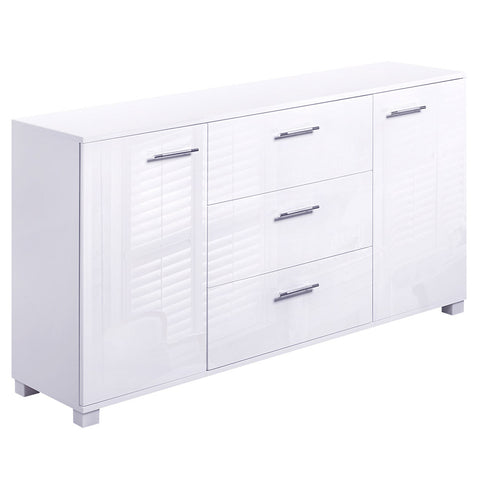 High Gloss Sideboard Storage Cabinet Cupboard White - OZZIEBARGAINS