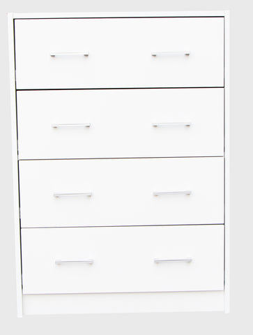 Chest of 4 Drawers - White - OZZIEBARGAINS
