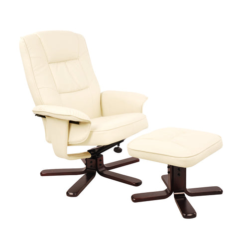 PU Leather Lounge Office Recliner Chair Ottoman Beige