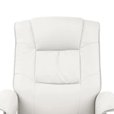 PU Leather Lounge Office Recliner Chair Ottoman White - OZZIEBARGAINS