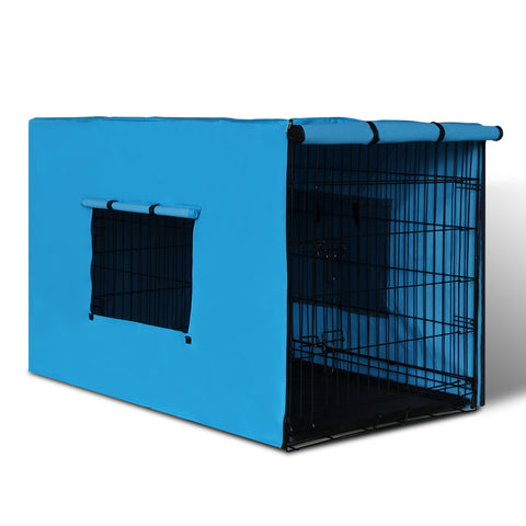 "42"" Foldable Metal Dog Cage with Cover Blue - OZZIEBARGAINS"