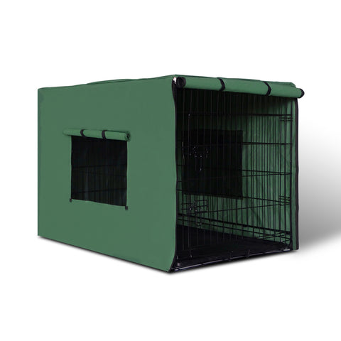 "42"" Foldable Metal Dog Cage with Cover Green - OZZIEBARGAINS"