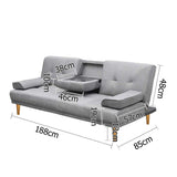 Modern Fabric 3 Seater Sofa Bed w/ Cup Holders - OZZIEBARGAINS