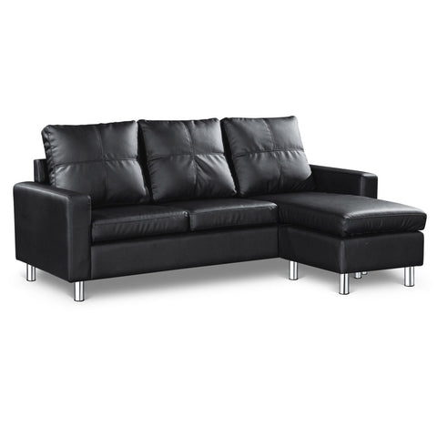 Four Seater Faux Leather Sofa with Ottoman Black - OZZIEBARGAINS