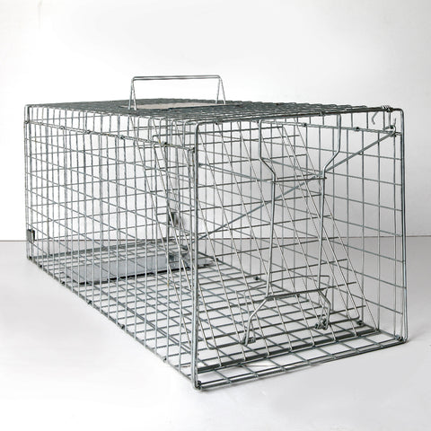 Humane Animal Trap Cage 108 x 40 x 45cm Silver