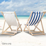 Fodable Beach Sling Chair - Blue & White Stripes - OZZIEBARGAINS