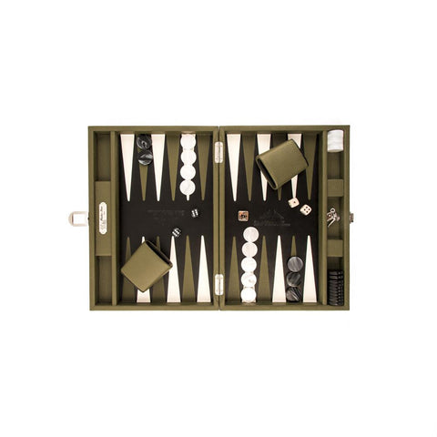 Hector Saxe Backgammon Medium - Buffalo Leather Olive