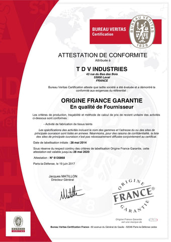 Certified FABRICS MADE IN FRANCE