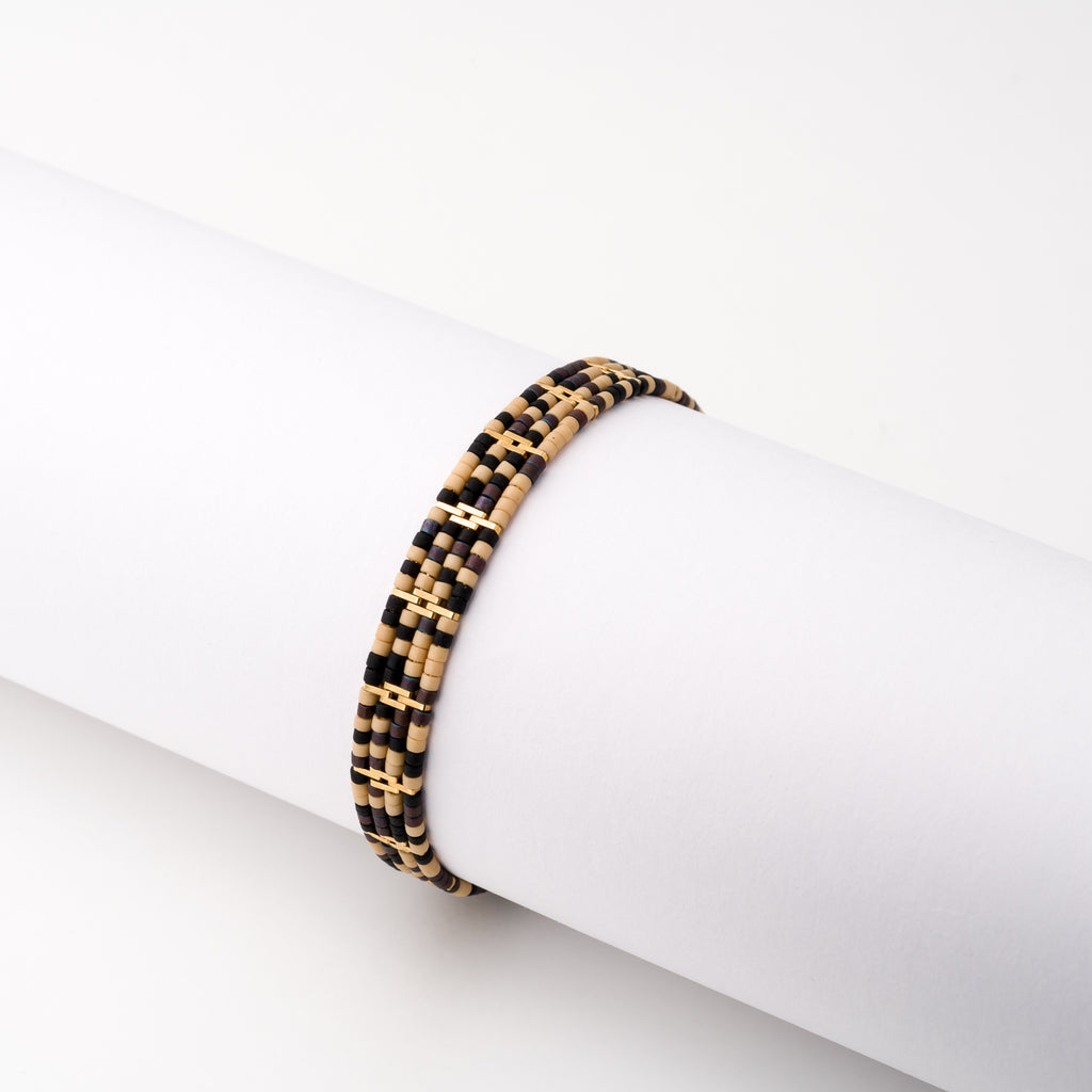 KEEP IT SIMPLE - Wide Patterned Bracelet - Gold African