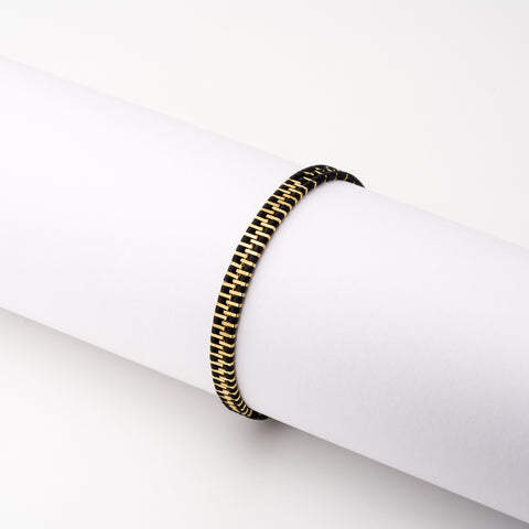 KEEP IT SIMPLE - Three Rows Bracelet - Gold & Black
