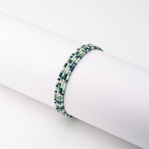KEEP IT SIMPLE - Wide Patterned Bracelet - Silver & Turquoise