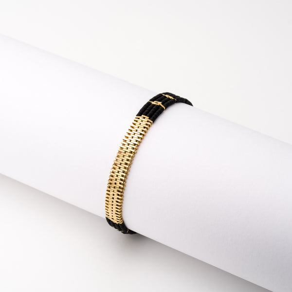KEEP IT SIMPLE - Wide Woven Bracelet - Gold & Black