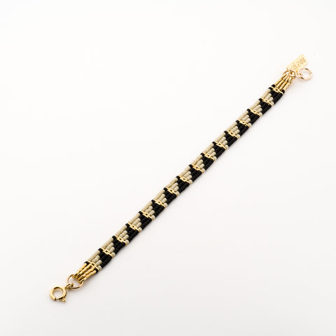 KEEP IT SIMPLE - Wide Patterned Bracelet - Gold & Black/stone