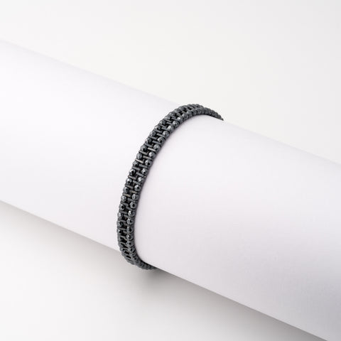 KEEP IT SIMPLE - Three Rows Bracelet - Oxidised Silver & Hematite