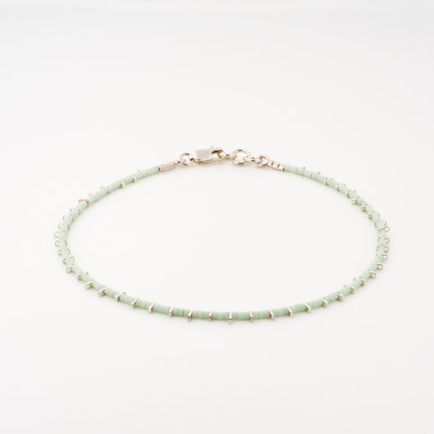 KEEP IT SIMPLE - One Row Anklet - Silver & Mint