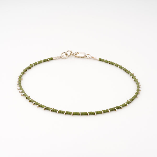 KEEP IT SIMPLE - One Row Anklet - Silver & Green