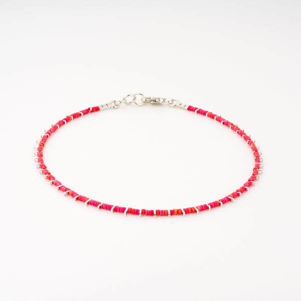 KEEP IT SIMPLE - One Row Anklet - Silver & Bright Pink