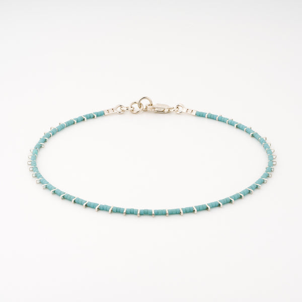KEEP IT SIMPLE - One Row Anklet - Silver & Turquoise