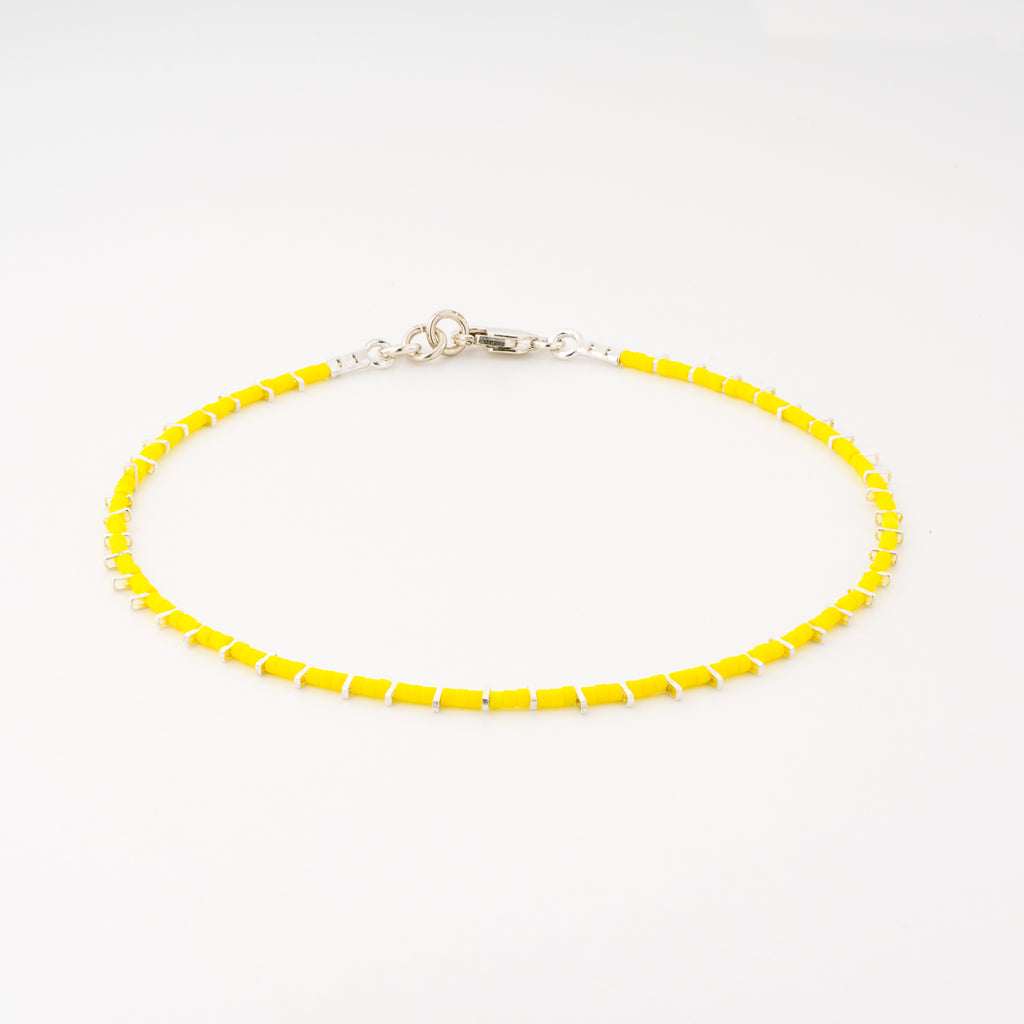 KEEP IT SIMPLE - One Row Anklet - Silver & Yellow