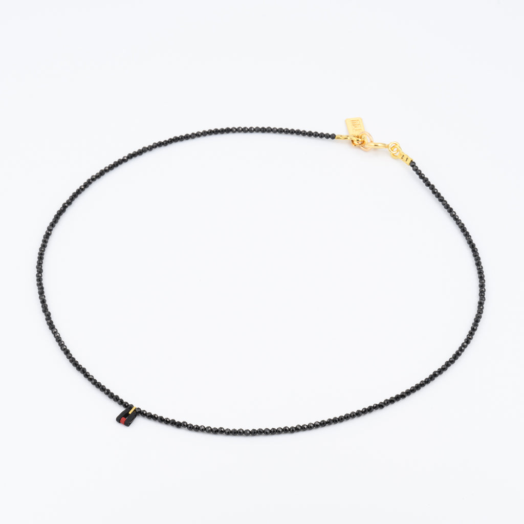 CHARM CHOKER - GEMSTONE/SPINEL - One Row Necklace - Gold, Black & Red