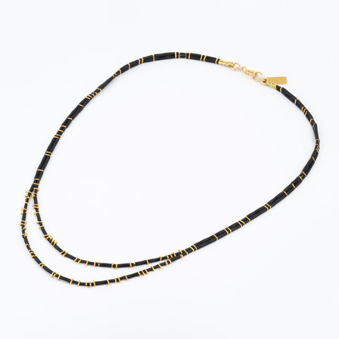 KEEP IT SIMPLE - Two Rows Necklace - Gold & Black