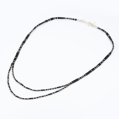 KEEP IT SIMPLE - Two Rows Necklace - Silver & Black