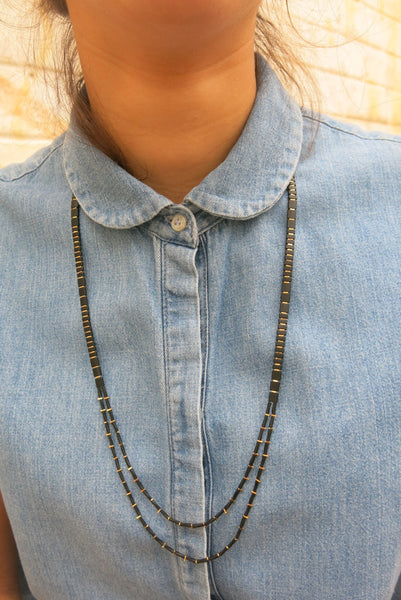KIS/ Long Necklace, Gold & Black