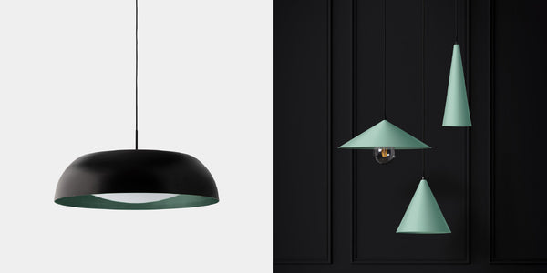 Lumi Lighting Hunter pendant in sage, Piatto pendants in sage