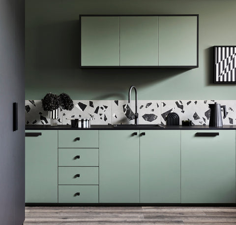 Laminex sage green kitchen styling by Bree Leech photography by Lisa Cohen