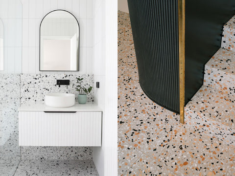 Left: Smart Style Bathrooms Bayswater residence with terrazzo tiles from Fibonacci Stone. Photography by Matt Biocich. Right: Paradiso coffee shop by Nomos Architects. Photography by Miguel de Guzmán.