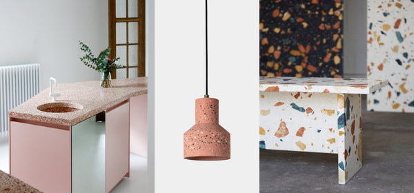 Left: Atelier Dialect 'Anne' kitchen design project. Middle: Lumi Lighting Pepi pendant in pink. Right: Max Lamb 'Marmoreal' engineered marble, produced for Dzek. Display at London Design Festival 2015. Photo courtesy of Dzek.