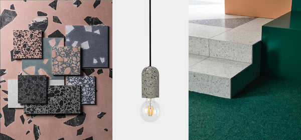Left: Mandarin Stone terrazzo in Shard and Pebble. Middle: Lumi Lighting Reo pendant in natural. Right: Doherty Design Studio 'Malvern Residence Two' with CDK Stone terrazzo tiles. Photography by Derek Swalwell.