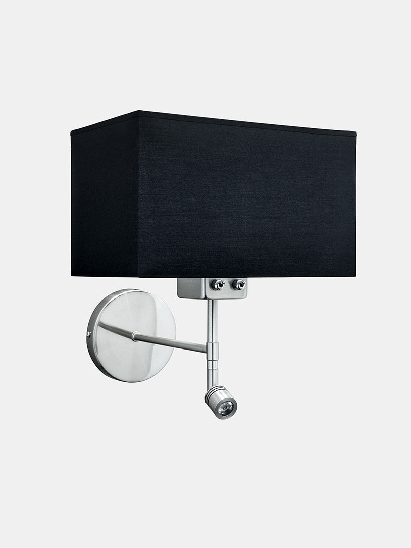 Turku wall lamp with black shade and adjustable reading light