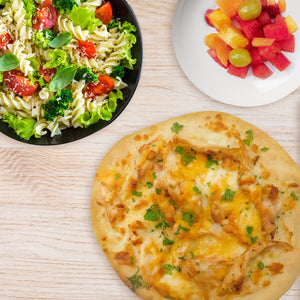 Pita Pizza Stuffed with Pulled Chicken & Cheese with a Side of Pasta Salad