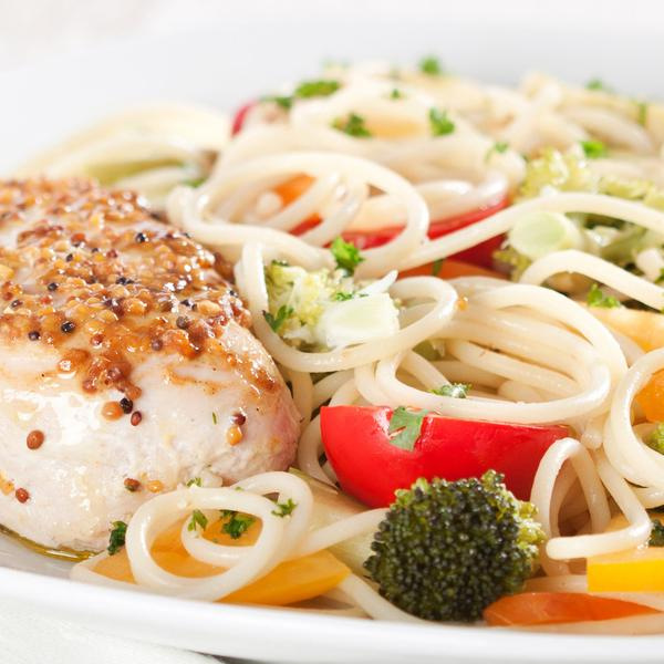 Vegetable Pasta Alfredo with Chicken Meatballs and Dinner Roll