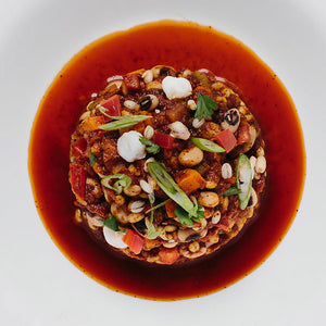 Hominy, Black Eyed Pea & Barley Chili
