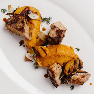 Peach & Garlic Grilled Pork Tenderloin over Sweet Mashed Potato