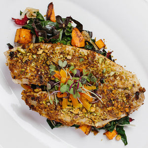 Buckwheat & Pistachio Crusted Tilapia
