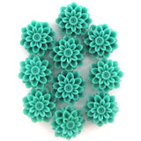 12mm synthetic green coral carved chrysanthemum flower pendant bead 10pcs