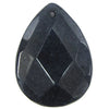 2 pieces 40mm faceted sapphire blue jade flat teardrop bead pendant